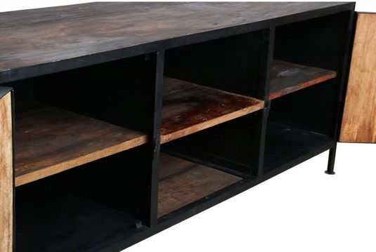 Tv kast factory hout metaal one world interiors lil.nl